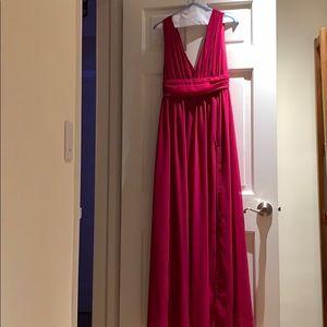 Lulus deep V , open slit long dress